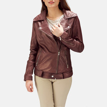 Designer Ladies Brown Leather Motorcycle JacketA-LD-05 - $130.00+