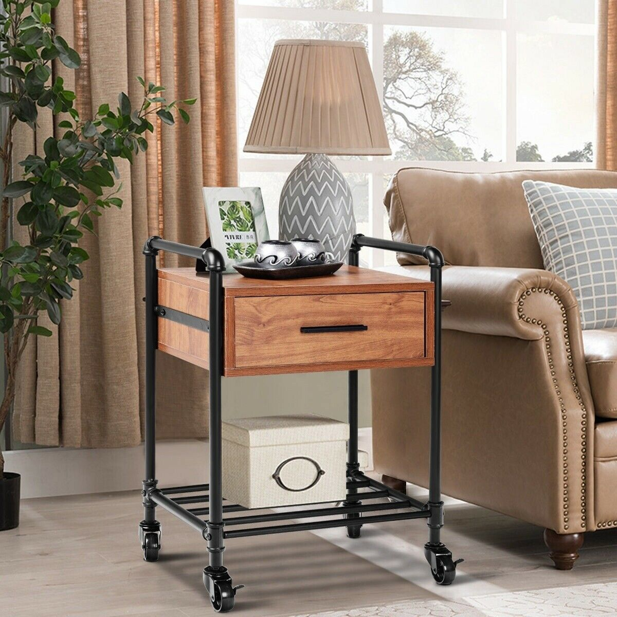 2-Tier End Coffee Living Room Table with Drawer & Wheels ...