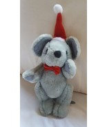 Gray CHRISTMAS MOUSE with red Santa Claus Christmas Xmas hat • pre-owned - $13.09