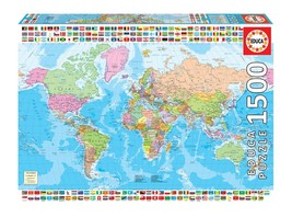 """NEW Educa Jigsaw Puzzle 1500 Pieces Tiles """"Political World Map"""" - $43.89"""