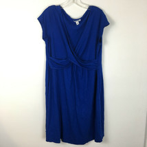 Old Navy Women's Blue Short Sleeve V-Neck Stretch Fit Midi Dress Size 1X - $15.83