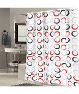 "EZ On Fabric Shower Curtain Circles With Built in Hooks 70""x75""  Black/G... - $26.59"