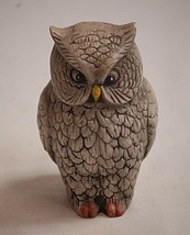Old Vintage Gray Owl Yellow Beak Ceramic Figurine Shadow Box Decor - $12.86