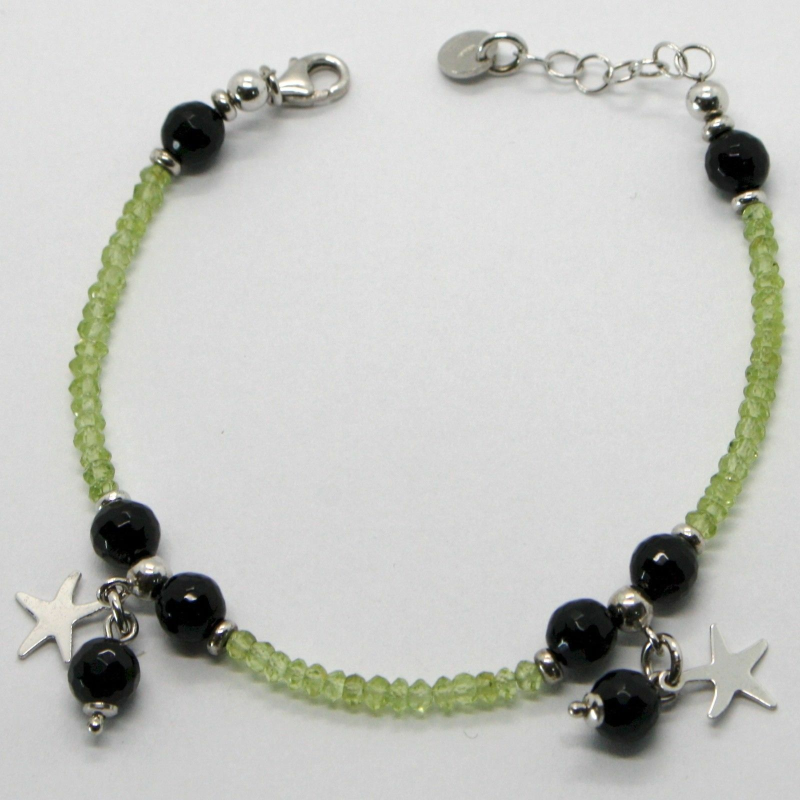 Silver 925 Bracelet with Peridot Green Onyx & Charms a Stars