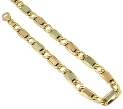 "18K YELLOW WHITE ROSE GOLD BRACELET 6 MM, 8.3"" SQUARE FLAT ALTERNATE GOURMETTE image 1"