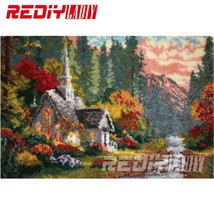 Latch Hook Rug Crocheting Tapestry Pre-printed Canvas Autumn Cottage Cus... - $119.99