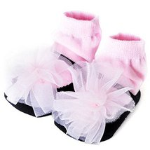 Baby Socks Lovely Cotton Summer Infant Socks 0-12 Months(Black With Pink Flower)