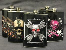 Set of 5 Skulls Set #1 Flasks 8oz Stainless Steel Hip Drinking Whiskey - $31.63