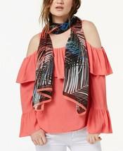 Calvin Klein Tropical Ferns Silk Chiffon Scarf Dark Pink - $50 - NWT - $23.74