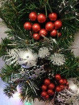 Wreath CHRISTMAS NEW HANDCRAFTED GREEN SILVER AND RED EMBELLISHMENTS - $72.75