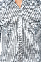 LW Men's Classic Checkered Striped Western Rodeo Pearl Snap Button Up Shirt image 14