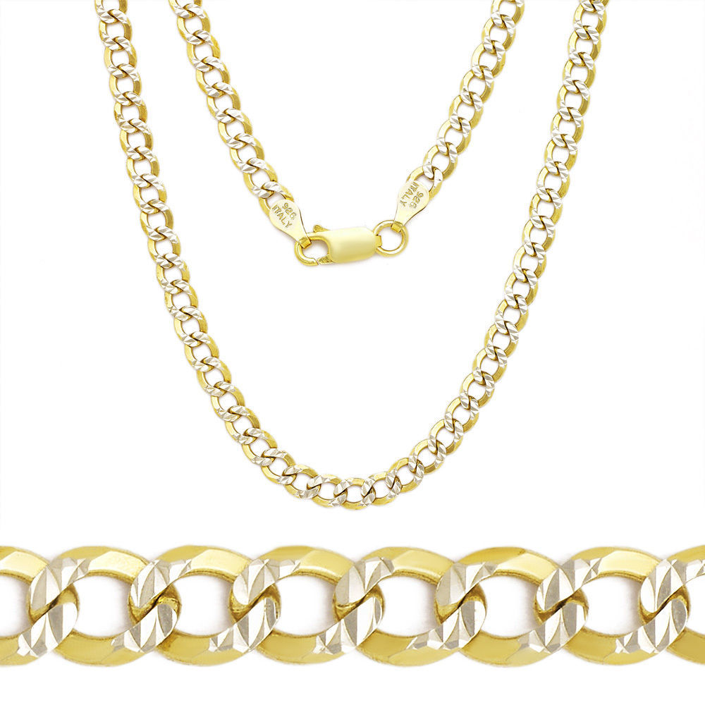 3.9mm Cuban Curb Sterling Silver Yellow Men's Link Chain Necklace Italy
