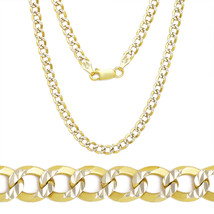 3.9mm Cuban Curb Sterling Silver Yellow Men's Link Chain Necklace Italy - $24.96+