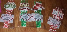 New 4 PkgsPaper Straws w/ Flags- Christmas dress/wreath present  Design ... - $6.46 CAD