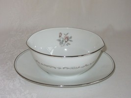 Noritake China Mayfair Gravy Boat Attached Underplate Vtg Pink Rose Plat... - $31.67