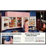 PINK Wall Refrigerator Freezer GE 2 Page 1955 AD - $14.99