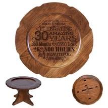 Cake Stand Wedding Pedestal Wooden Round 30th Anniversary - $74.99