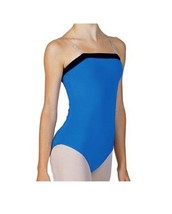 Bal Togs 6003 Women's Large (8-10) Blue With Black Trim Camisole Leotard - $18.99