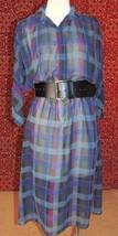 ITEMS CALIFORNIA VINTAGE 80s Navy plaid batwing sleeve shift dress S (TC... - $20.77