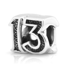 925 Sterling Silver Lucky #13 Bead Charm Fit Major Brand Bracelet - $25.41