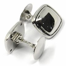 18K WHITE GOLD CUFFLINKS, ROUNDED SQUARE BUTTON, MADE IN ITALY image 3