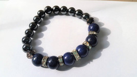 Lapis Lazuli and Hematite Bracelet with Pave Spacers/ Sparkly Blue and B... - $27.95