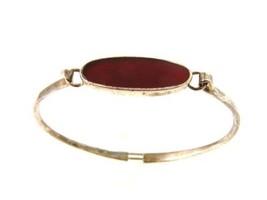 Vintage Sterling Silver & Carnelian Cuff Bracelet - $76.22