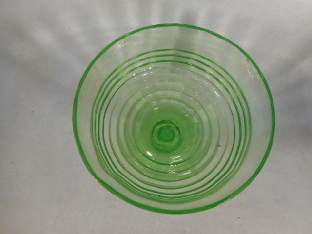 Vintage Green Depression Glass Block Optic Footed Sherbert