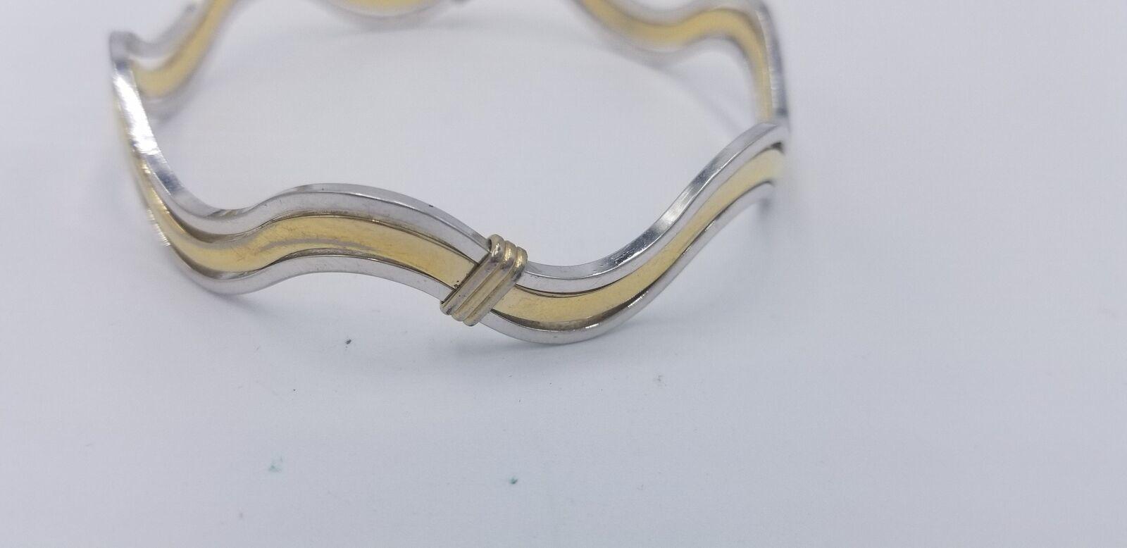Vintage Signed Avon Silver And Gold Tone Wavy Style No Clasp Bracelet EUC image 6