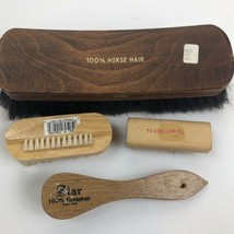 100% horse hair shoe shine brushes made in Israel Lot Of 4 Large Small V... - $32.66
