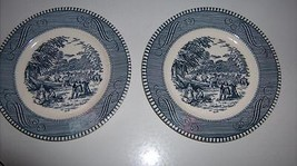 "Harvest Scene Salad / Bread Plates 6.5"" Blue White Patterned Trim Set of 2 - $13.99"