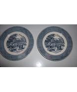 """Harvest Scene Salad / Bread Plates 6.5"""" Blue White Patterned Trim Set of 2 - $13.99"""