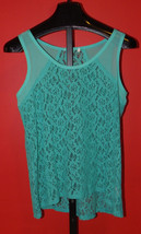 Junior's Hi-Low Teal Lacy Tank Top Size L Ladies Tank Top High Low Top - $9.99