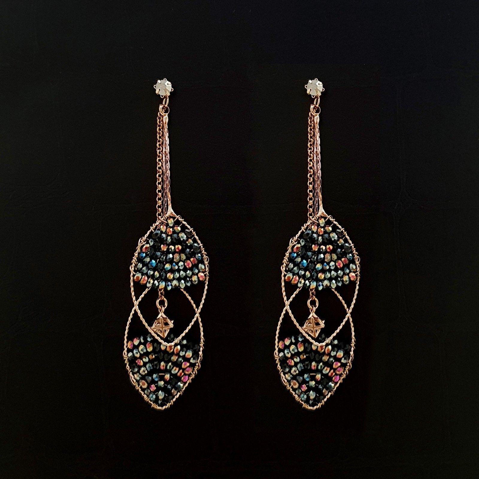 Handmade Oval Ellipse Made With Swarovski Stone Drop Dangle Earrings Brass E201 image 7
