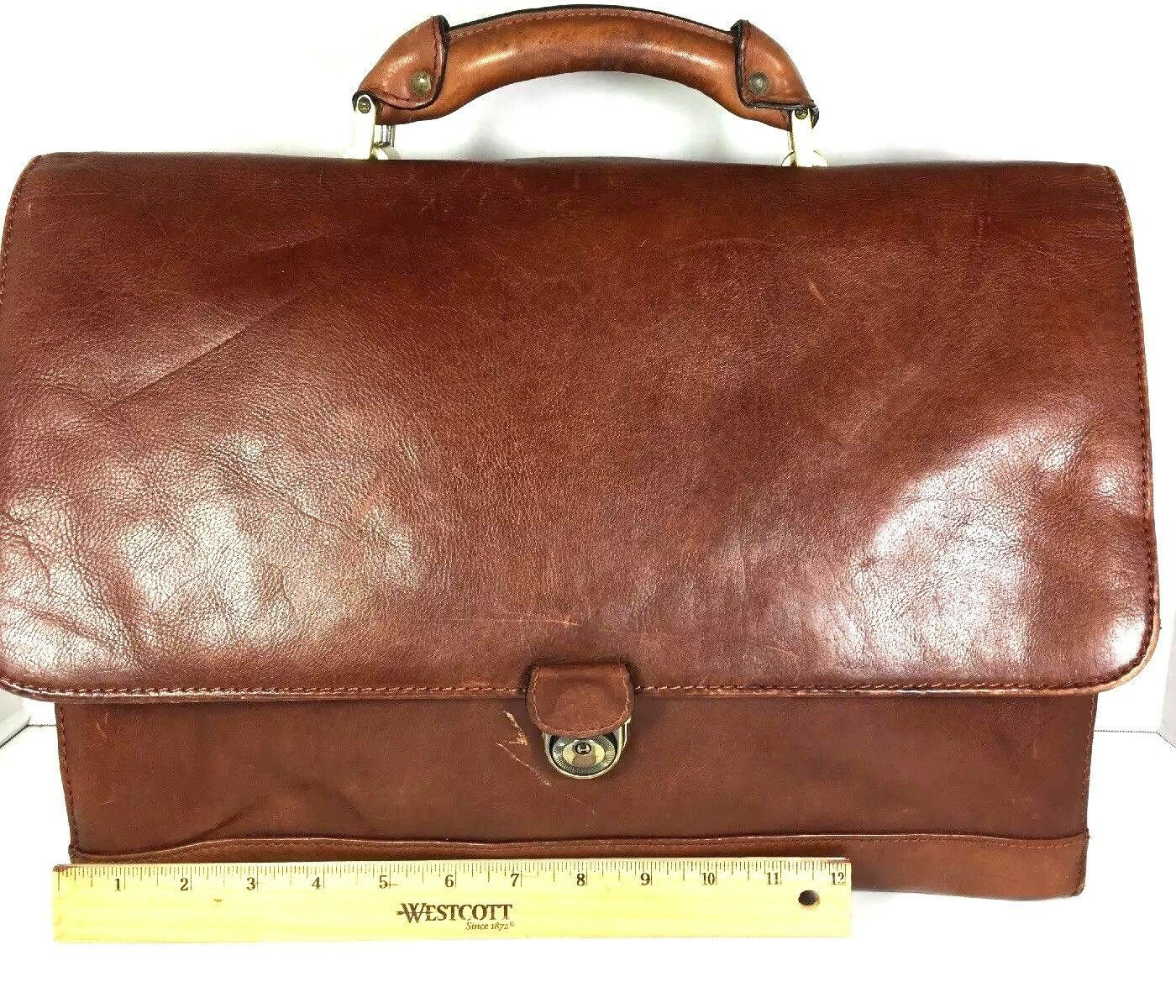 Avenues America Vintage Large Brown Mens Leather Briefcase - Distressed