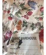 Vintage Silky Strechy White Floral Fabric 2 Yards x 65 Flowers Old stock... - $16.03