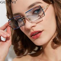 Guvivi Rectangle Rimless Sunglasses Fashion Women Men Metal Frame Sun Glasses Sh