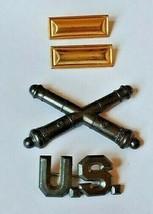 WW1 AEF US Army Artillery Officers 2nd LT Lieutenant Coffin Rank & collar pins - $28.66