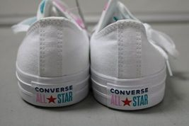 NIB NEW Women sz 8.5 Converse Shoe Sneaker White Teal Peony Box CTAS OX image 4