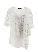 Joan Boyce Sequin Poncho Cami 2Pc Set Silver White M NEW 654-132 - $28.69