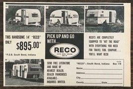 1966 RECO Campers South Bend IN Print Ad Pick Up & Go w Reco - $10.75
