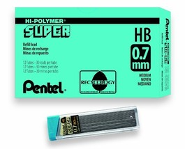 Pentel Super Hi-Polymer Lead Refill, 0.7mm Medium, HB, 360 Pieces of Lea... - $21.45