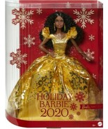 2020 Holiday Barbie Doll Black Hair African American Gold Gown New Chris... - $78.00