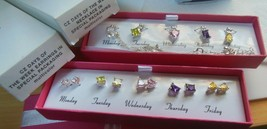 Avon CZ Days of The Week Necklace & Earrings Multi-Color Special Packaging NIB - $29.00