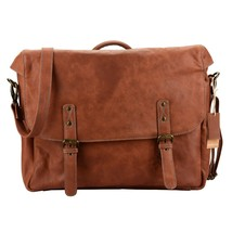 15 Inch Laptop Handmade Leather Messenger Bag Flap Over Office Briefcase - $130.70