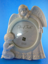 Vintage RUSS porcelain picture frame 5.75 tall for 3X3 photo Angel Praying child - $10.88