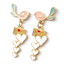 Cute Pink Blue Bird Couple Love Mail Red Heart Cartoon Drop Dangle Earri... - $7.99
