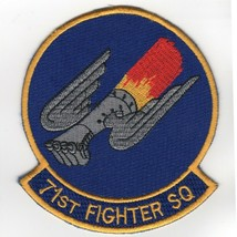 """4"""" Usaf Air Force 71FS Squadron Blue With Gray Frist K Embroidered Jacket Patch - $18.99"""
