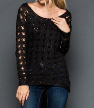 Black Sequin Sweater, Black Sequin Sweaters, Loose Knit Sweater, GeeGee, Womens