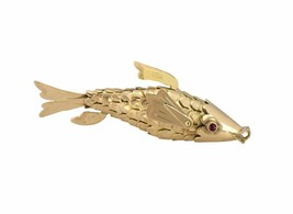 Antique Estate 14K Yellow Gold Ruby Eyed Articulated Nautical Fish Penda... - €403,29 EUR